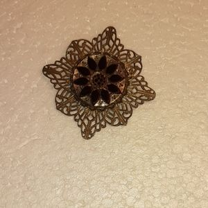 Vintage Filigree Gold Tone  Brooch With Black  Sto